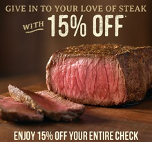 outback steakhouse 15 off